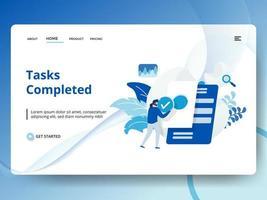 Tarefas concluídas Landing Page com trabalhador segurando a marca de seleção