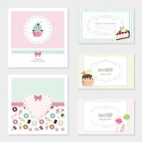 Conjunto de modelos de cartão de doces fofos vetor