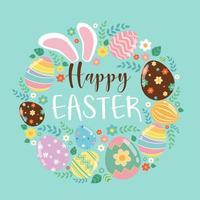 Feliz Páscoa cartão colorido com orelhas de coelho, ovos e texto