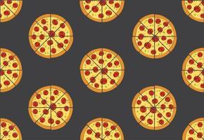 Padrão sem emenda de pizza isolada no fundo preto vetor