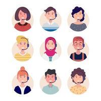 Pacote de avatar para call center vetor
