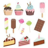 Conjunto de doces diferentes em branco vetor