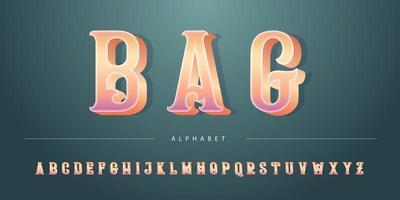 Alfabeto retro real 3D bold (realce) metálico vetor