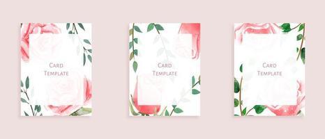 Conjunto de modelos de cartão moderno com rosas e folhas selvagens