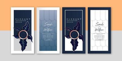 Conjunto de convite elegante folhas de gráfico vetor