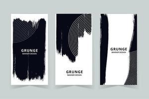 Conjunto de banner vertical de cor profunda de arte grunge vetor