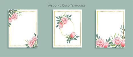 Belo conjunto de modelos de cartão de casamento. Decorado com buquês de rosas.