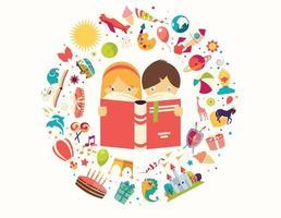 Conceito de imaginação, menino e menina lendo um livro objetos voando para fora