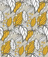 Sem costura padrão floral com folhas de mão desenhada vetor