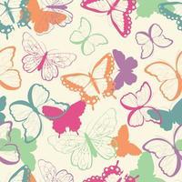 Padrão de vetor sem costura com mão desenhada borboletas coloridas