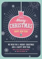 Cartão de Natal com uma bola de Natal decorativa vetor