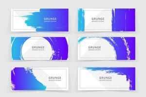 Conjunto de Banner de cor azul e roxo de arte grunge vetor