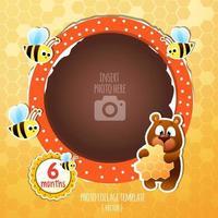 Comemorando o novo bebê com fome urso de mel e conjunto de abelhas