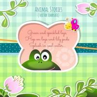 Modelo de sapo de histórias de animais envolventes para crianças vetor