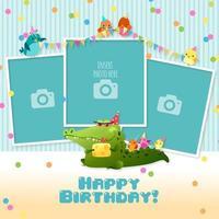 Modelo de colagem de feliz aniversário infantil de três molduras para fotos vetor
