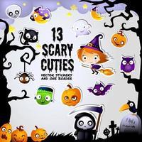 Adesivos de Halloween assustadores Cuties e conjunto de quadro de fronteira vetor