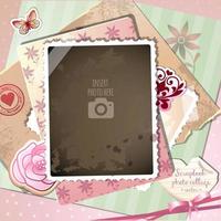 Memórias de amor romântico única foto Scrapbook Collage vetor