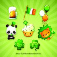 Oito personagens e desenhos irlandeses do dia de São Patrício vetor