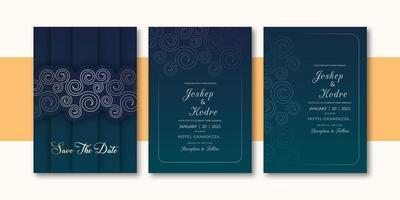 Convite esverdeado escuro do casamento da cor da beira elegante vetor