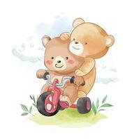 Amigos animais urso andando de scooter vetor