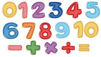 Um conjunto de símbolos numéricos e matemáticos vetor