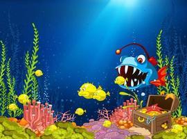 Desenhos animados oceano subaquático de recifes de corais vetor