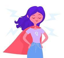 Mulher com capa de super-herói vetor