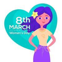 Garota do dia internacional da mulher em pé vetor