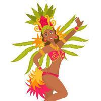 Dançarina de samba brasileira com fantasia de carnaval vetor