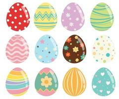 Conjunto de ovos de Páscoa com textura e padrões diferentes vetor