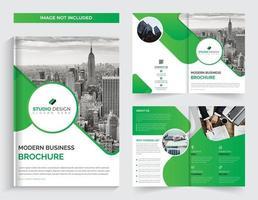 Modelo de Brochura - corporativo verde bifold vetor