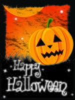Cartão de feliz dia das bruxas com abóbora e mensagem
