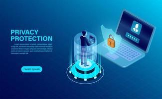 Conceito de banner de proteção de privacidade vetor
