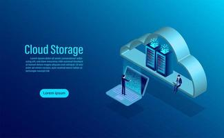 Página de destino do armazenamento em nuvem vetor