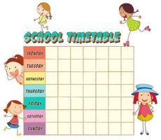 Horário escolar com garotas doodle vetor