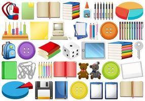 Material de escritório e equipamento escolar variados vetor