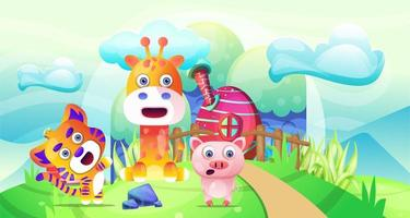 Animal selvagem dos desenhos animados na terra da fantasia