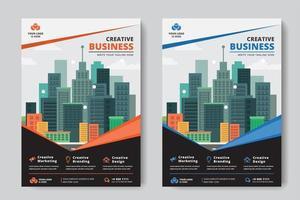 Panfletos de negócios A4 tamanho 2 folhetos laranja e azul projeto de ângulo vetor
