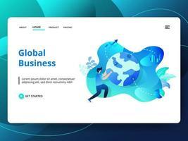 Modelo de site de negócios globais vetor