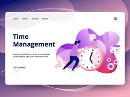 Modelo de site de gerenciamento de tempo vetor
