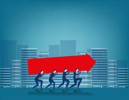 Empresário, carregando o conceito de trabalho em equipe sinal de seta vetor