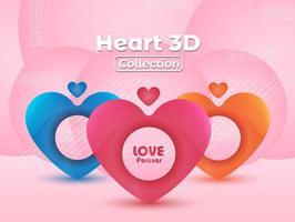 Corações coloridos e padrões geométricos em rosa vetor
