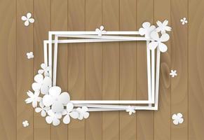 flores brancas na moldura de madeira vetor