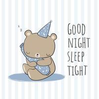 Urso de pelúcia abraçando bolster dormindo desenhos animados doodle vetor