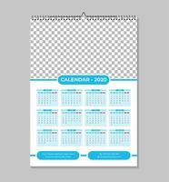 Modelo de calendário de parede azul uma página 2020 vetor