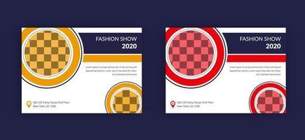 Conjunto de modelo de cartaz ou folheto de desfile de moda vetor