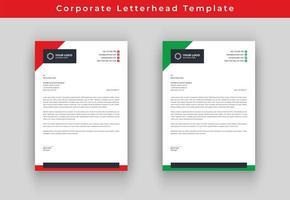 Papel timbrado vermelho e verde do negócio do triângulo vetor