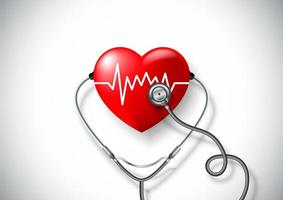 Conceito de dia mundial da saúde com coração e estetoscópio vetor