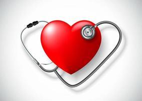 Um estetoscópio em forma de coração vetor