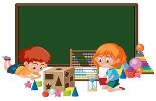 Garoto com banner de brinquedo de matemática vetor